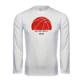 Performance White Longsleeve Shirt-Basketball Texture Ball