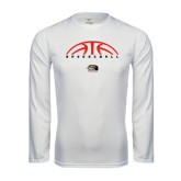 Performance White Longsleeve Shirt-Basketball Half Ball