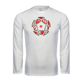 Performance White Longsleeve Shirt-Geometric Soccer Ball