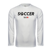 Performance White Longsleeve Shirt-Soccer Halftone Ball