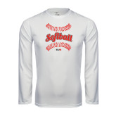 Performance White Longsleeve Shirt-Softball Seams