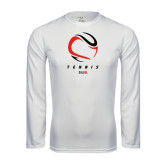 Performance White Longsleeve Shirt-Abstract Tennis Ball