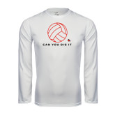 Performance White Longsleeve Shirt-Volleyball Can You Dig It