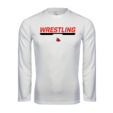 Performance White Longsleeve Shirt-Wrestling Bar