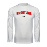 Performance White Longsleeve Shirt-Wrestling Arched