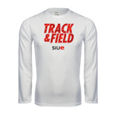 Performance White Longsleeve Shirt-Track and Field Polygon Texture