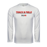 Performance White Longsleeve Shirt-Track and Field Lines