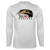 Performance White Longsleeve Shirt-SIUE Cougars Official Logo