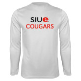 Performance White Longsleeve Shirt-SIUE Cougars Stacked