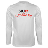 Performance White Longsleeve Shirt-SIUE Arched Cougars