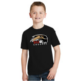 Youth Black T Shirt-SIUE Cougars Official Logo