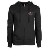 ENZA Ladies Black Fleece Full Zip Hoodie-SIUE Cougars Official Logo