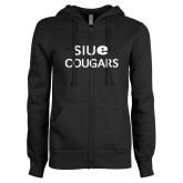 ENZA Ladies Black Fleece Full Zip Hoodie-SIUE Cougars Stacked