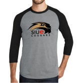 Grey/Black Tri Blend Baseball Raglan-SIUE Cougars Official Logo