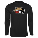 Performance Black Longsleeve Shirt-SIUE Cougars Official Logo