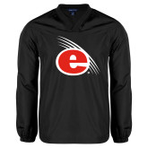V Neck Black Raglan Windshirt-e Slash Mark