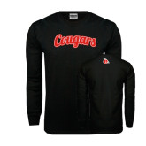 Black Long Sleeve TShirt-Distressed Scripted Cougars