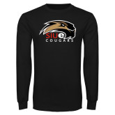 Black Long Sleeve TShirt-SIUE Cougars Official Logo