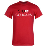 Red T Shirt-SIUE Cougars Stacked
