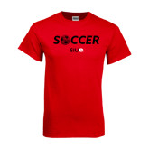 Red T Shirt-Soccer Halftone Ball