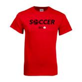Red T Shirt-Soccer Halftone Ball