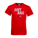 Red T Shirt-Softball Polygon Text