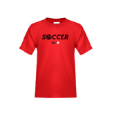 Youth Red T Shirt-Soccer Halftone Ball