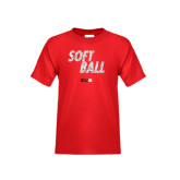 Youth Red T Shirt-Softball Polygon Text