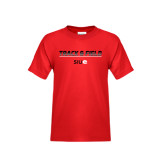 Youth Red T Shirt-Track and Field Lines