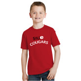Youth Red T Shirt-SIUE Arched Cougars