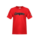 Youth Red T Shirt-Distressed Scripted Cougars