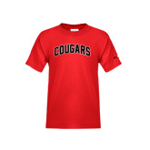 Youth Red T Shirt-Arched Cougars