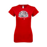 Next Level Ladies SoftStyle Junior Fitted Red Tee-Basketball Texture Ball