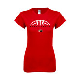 Next Level Ladies SoftStyle Junior Fitted Red Tee-Basketball Half Ball