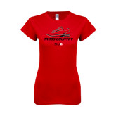 Next Level Ladies SoftStyle Junior Fitted Red Tee-Cross Country Shoe