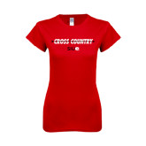 Next Level Ladies SoftStyle Junior Fitted Red Tee-Cross Country Arrow