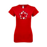 Next Level Ladies SoftStyle Junior Fitted Red Tee-Geometric Soccer Ball