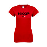 Next Level Ladies SoftStyle Junior Fitted Red Tee-Soccer Halftone Ball