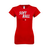 Next Level Ladies SoftStyle Junior Fitted Red Tee-Softball Polygon Text