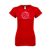 Next Level Ladies SoftStyle Junior Fitted Red Tee-Volleyball Can You Dig It