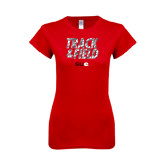 Next Level Ladies SoftStyle Junior Fitted Red Tee-Track and Field Polygon Texture
