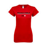 Next Level Ladies SoftStyle Junior Fitted Red Tee-Track and Field Lines