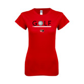 Next Level Ladies SoftStyle Junior Fitted Red Tee-Golf Star and Stripes