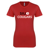 Next Level Ladies SoftStyle Junior Fitted Red Tee-SIUE Cougars Stacked