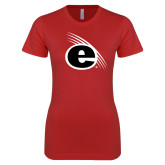 Next Level Ladies SoftStyle Junior Fitted Red Tee-e Slash Mark