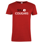 Ladies Red T Shirt-SIUE Cougars Stacked