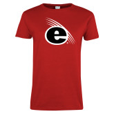 Ladies Red T Shirt-e Slash Mark