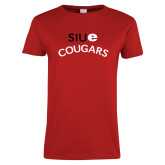 Ladies Red T Shirt-SIUE Arched Cougars