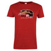 Ladies Red T Shirt-SIUE Cougars Official Logo Distressed