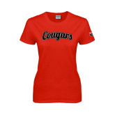 Ladies Red T Shirt-Distressed Scripted Cougars
